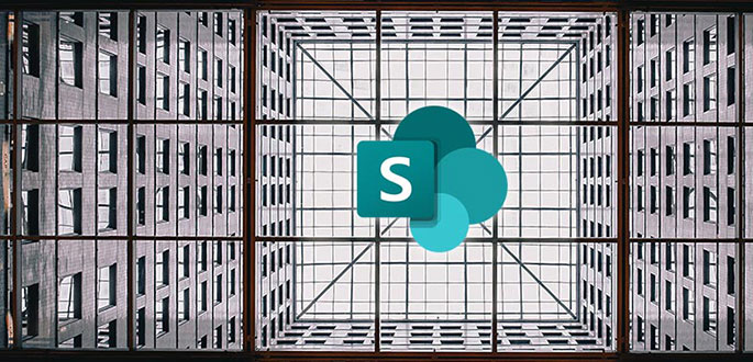 sharepoint implementation represented by sp logo hovering in industrial building