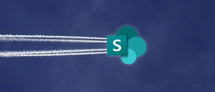 sharepoint migration services represented by sp logo flying through the sky
